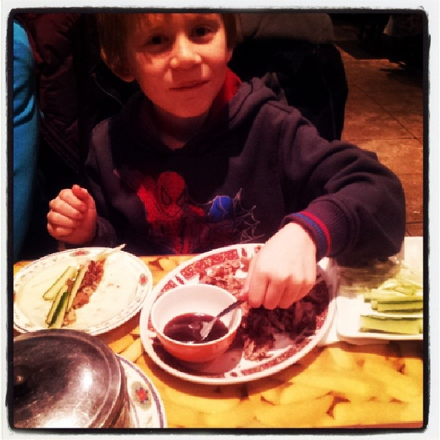 Finally, Riley gets his most loved food. Crispy Duck